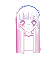 line beauty anime girl with hairstyle and blouse vector image