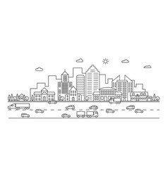 line city outline town street with buildings vector image