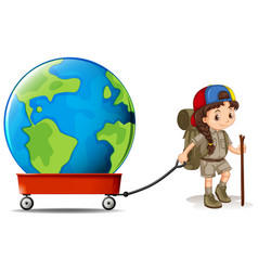 Little girl pulling big earth on wagon vector