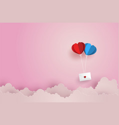 Love and valentine daytwin paper hot air balloon vector