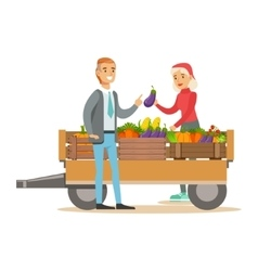 Man Buying Fresh Vegetables From Woman With vector