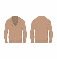 Mens brown cardigan vector