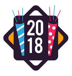 New year 2018 badge image vector