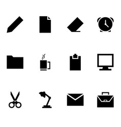 office icon set on white background vector image