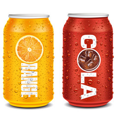 Orange and cola tin can with many water drops vector