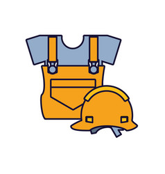 Overall uniform construction with helmet security vector