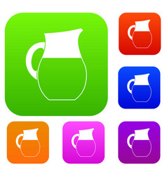 Pitcher of milk set collection vector