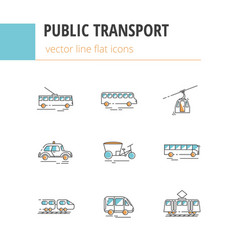 public city transport flat color linear vector image