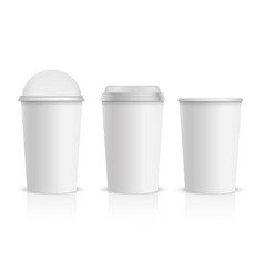 realistic plastic cup with transparent cap vector image