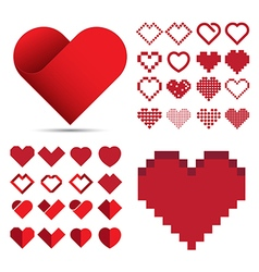 Red heart icon set vector image
