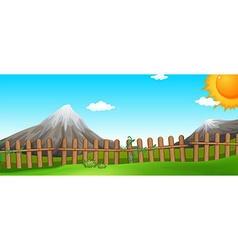 Scene with mountains and fields vector image