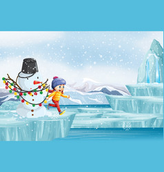Scene with snowman and little girl vector