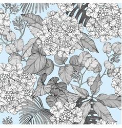 Seamless pattern hydrangea blue design vector