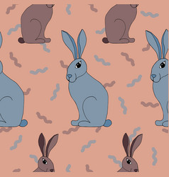 seamless pattern with lovely hand-drawn rabbits vector image vector image