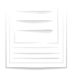 set realistic sheet drop shadows on transparent vector image