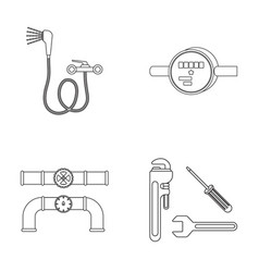 Shower faucet water meter and other equipment vector