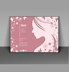 Silhouette of a women on pink background vector
