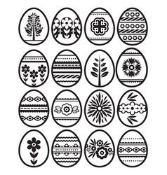 Silhouettes of black easter eggs isolated vector