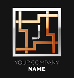 silver letter j logo in silver-golden square maze vector image