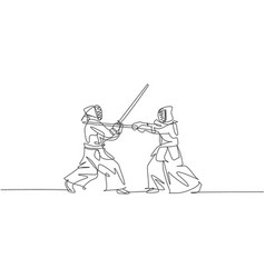 single continuous line drawing two young vector image