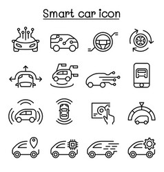 Smart car icons set in thin line style vector