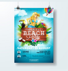 Summer beach party flyer design with sexy vector