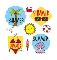 summer season stickers decoration icons vector image