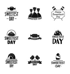 Sweet day logo set simple style vector
