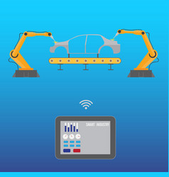 Tablet controls robotic welding arm on car vector
