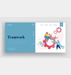 Team work cooperation gears mechanism website vector