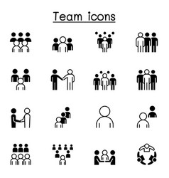 Teamwork team people icons set graphic design vector