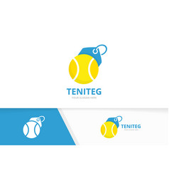 tennis and tag logo combination game and vector image