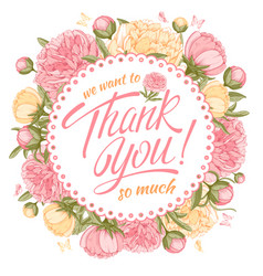 thank you message with peony vector image
