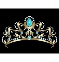 Tiara with diamonds and aquamarines vector