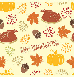 turkey and pumpkin thanksgiving pattern vector image