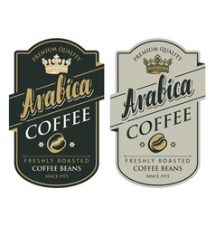 two labels for coffee beans in retro style vector image