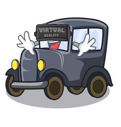 virtual reality old cartoon car in side garage vector image