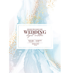 Watercolor blue wedding marble and gold abstract vector