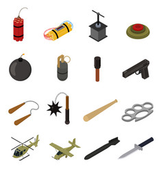 weapons 3d icons set isometric view vector image