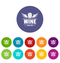wine barrel icons set color vector image