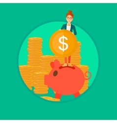 Woman putting coin in piggy bank vector image