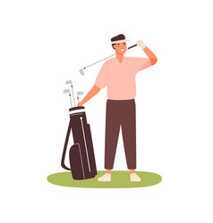 young man in cap visor holding golf club case vector image