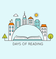 city and open book days of reading sign vector image vector image
