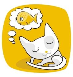 Cute Cat Dreaming vector image vector image