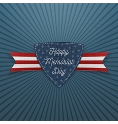 Happy memorial day textile emblem and ribbon vector