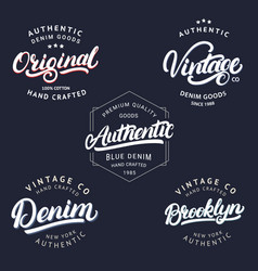 set of vintage brooklyn denim original and vector image