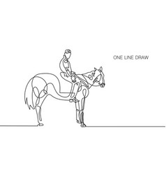 trendy continuous one line rider on horseback vector image