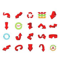 arrow icon set cartoon style vector image