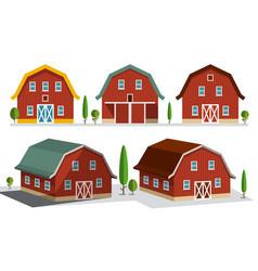 houses on farm farming concept buildings set vector image vector image