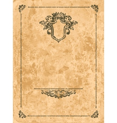 Vintage frame on old paper sheet vector image vector image